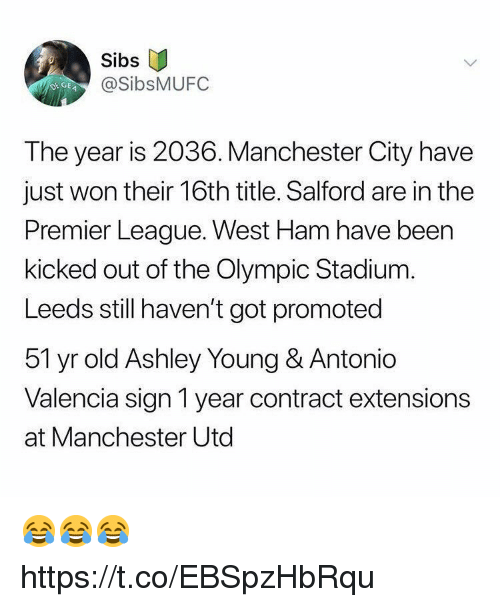 Premier League, Soccer, and Manchester City: Sibs  @SibsMUFC  DEGE  The year is 2036. Manchester City have  just won their 16th title. Salford are in the  Premier League. West Ham have been  kicked out of the Olympic Stadium.  Leeds still haven't got promoted  51 yr old Ashley Young & Antonio  Valencia sign 1 year contract extensions  at Manchester Utd 😂😂😂 https://t.co/EBSpzHbRqu