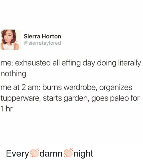 Funny, Tupperware, and Paleo: Sierra Horton  @sierrataylored  me: exhausted all effing day doing literally  nothing  me at 2 am: burns wardrobe, organizes  tupperware, starts garden, goes paleo for  1 hr Every👏🏻damn👏🏻night