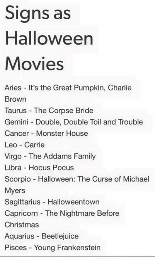 it's the great pumpkin charlie brown: Signs as  Halloween  Movies  Aries It's the Great Pumpkin, Charlie  Brown  Taurus The Corpse Bride  Gemini Double, Double Toil and Trouble  Cancer Monster House  Leo Carrie  Virgo The Addams Family  Libra Hocus Pocus  Scorpio Halloween: The Curse of Michael  Myers  Sagittarius Halloweentown  Capricorn The Nightmare Before  Christmas  Aquarius Beetlejuice  Pisces Young Frankenstein