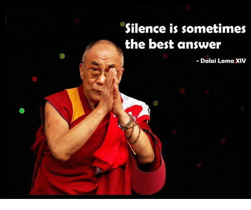 Memes, Dalai Lama, and 🤖: Silence is sometimes  the best answer  Dalai Lama XIV