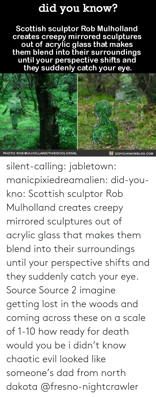 Looked: silent-calling: jabletown:  manicpixiedreamalien:  did-you-kno:  Scottish sculptor Rob Mulholland  creates creepy mirrored sculptures  out of acrylic glass that makes  them blend into their surroundings  until your perspective shifts and  they suddenly catch your eye.  Source Source 2  imagine getting lost in the woods and coming across these on a scale of 1-10 how ready for death would you be  i didn't know chaotic evil looked like someone's dad from north dakota    @fresno-nightcrawler