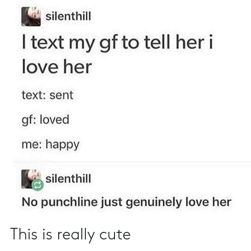 Cute, Love, and Happy: silenthill  I text my gf to tell her i  love her  text: sent  gf: loved  me: happy  silenthill  No punchline just genuinely love This is really cute