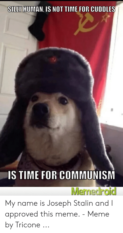 Joseph Stalin Meme: SILLV HUMAN, IS NOT TIME FOR CUDDLES  IS TIME FOR COMMUNISM  Memedroid My name is Joseph Stalin and I approved this meme. - Meme by Tricone ...