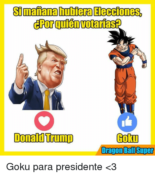 Donald Trump, Goku, and Memes: Simananahutiera Elecciones,  Donald Trump  Goku  Dragon Ball Super Goku para presidente <3
