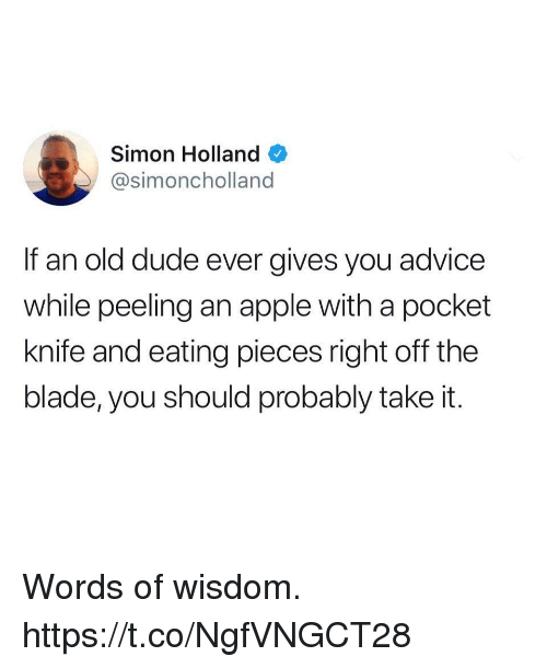 Advice, Apple, and Blade: Simon Holland  @simoncholland  If an old dude ever gives you advice  while peeling an apple with a pocket  knife and eating pieces right off the  blade, you should probably take it. Words of wisdom. https://t.co/NgfVNGCT28