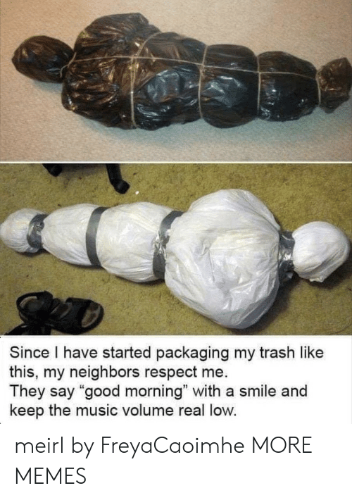 "Dank, Memes, and Music: Since I have started packaging my trash like  this, my neighbors respect me  They say ""good morning"" with a smile and  keep the music volume real low. meirl by FreyaCaoimhe MORE MEMES"