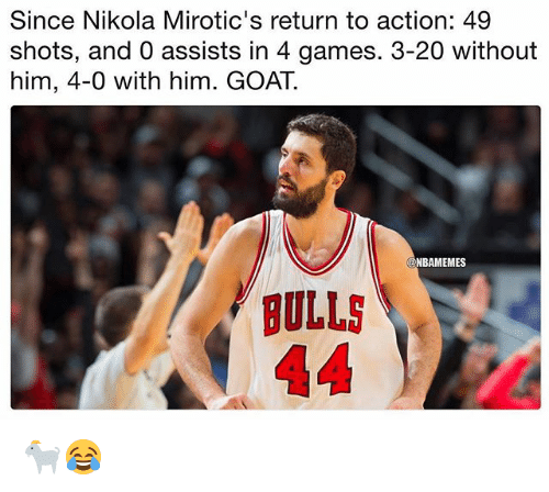 Nba, Goat, and Bulls: Since Nikola Mirotic's return to action: 49  shots, and 0 assists in 4 games. 3-20 without  him, 4-0 with him. GOAT.  ONBAMEMES  BULLS 🐐😂