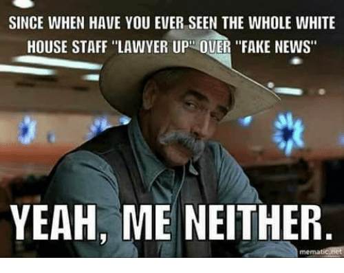 "Fake, Lawyer, and Memes: SINCE WHEN HAVE YOU EVER SEEN THE WHOLE WHITE  HOUSE STAFF ""LAWYER UP OUER ""FAKE NEWS""  YEAH, ME NEITHER  mematicanct"
