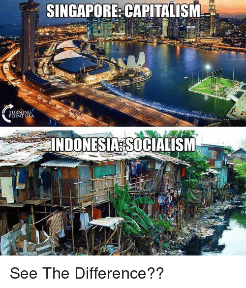 Memes, Capitalism, and Indonesia: SINGAPORE: CAPITALISM  TURNING  POINT USA  INDONESIA SOCIALISM See The Difference??