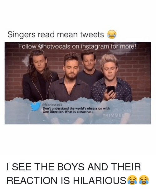 mean tweets: Singers read mean tweets  Follow @hotvocals on instagram for more!  efearlessx93  Don't understand the world's obsession with  One Direction. What is attractive a  I SEE THE BOYS AND THEIR REACTION IS HILARIOUS😂😂