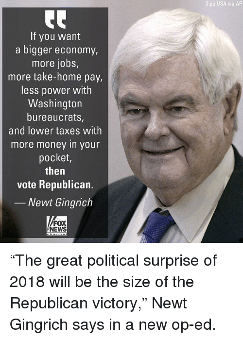 "Memes, Money, and News: Sipa USA via AP  If you want  a bigger economy  more jobs,  more take-home pay,  less power with  Washington  bureaucrats,  and lower taxes with  more money in your  pocket,  then  vote Republican.  Newt Gingrich  FOX  NEWS ""The great political surprise of 2018 will be the size of the Republican victory,"" Newt Gingrich says in a new op-ed."