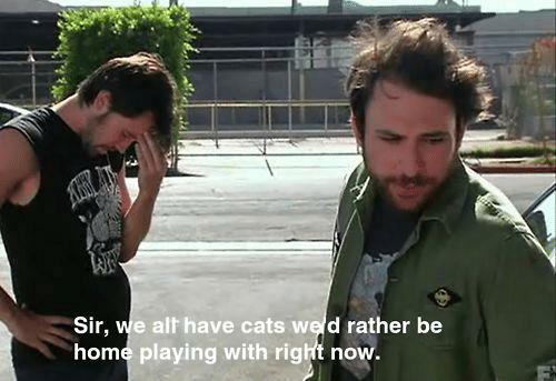 Cats, Home, and Alt: Sir, we alt have cats we d rather be  home playing with right now.