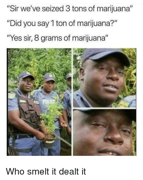 "Marijuana, Yes, and Who: Sir we've seized 3 tons of marijuana""  ""Did you say 1 ton of marijuana?""  ""Yes sir, 8 grams of marijuana"" Who smelt it dealt it"