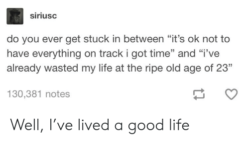 "Life, Good, and Time: siriusc  do you ever get stuck in between ""it's ok not to  have everything on track i got time"" and ""i've  already wasted my life at the ripe old age of 23""  130,381 notes Well, I've lived a good life"