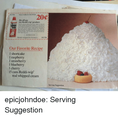 blueberry: sise  Reddi-wip'product.  Our Favorite Recipe  l shortcake  I raspberry  I strawberry  l blueberry  1 cherry  15 cans Reddi-wip  real whipped cream  Serving Suggestion epicjohndoe:  Serving Suggestion