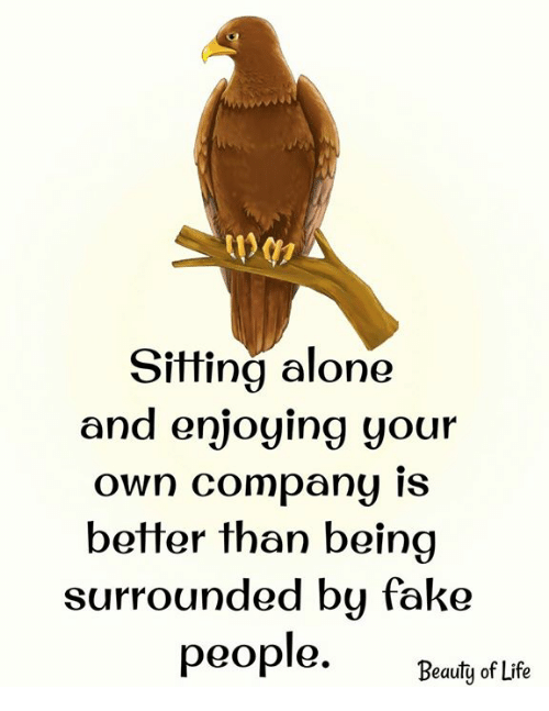 """Being Alone, Fake, and Life: Sitting alone  and enjoying your  own Company IS  better than beina  surrounded bu fake  """"Beauty of Life"""