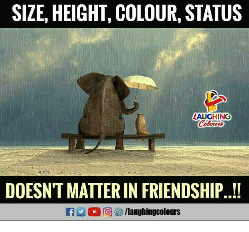 Friendship, Indianpeoplefacebook, and Matter: SIZE, HEIGHT, COLOUR, STATUS  AUGHINO  DOESN'T MATTER IN FRIENDSHIP..!  O @ 8/laughingcolours