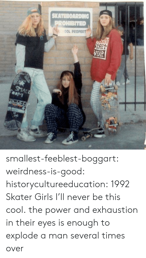 skateboarding: SKATEBOARDING  PROHIBITED  OOL PROPERT  STRET  VEAR  SMALL  TooM  WbWE smallest-feeblest-boggart: weirdness-is-good:  historycultureeducation: 1992 Skater Girls  I'll never be this cool.   the power and exhaustion in their eyes is enough to explode a man several times over