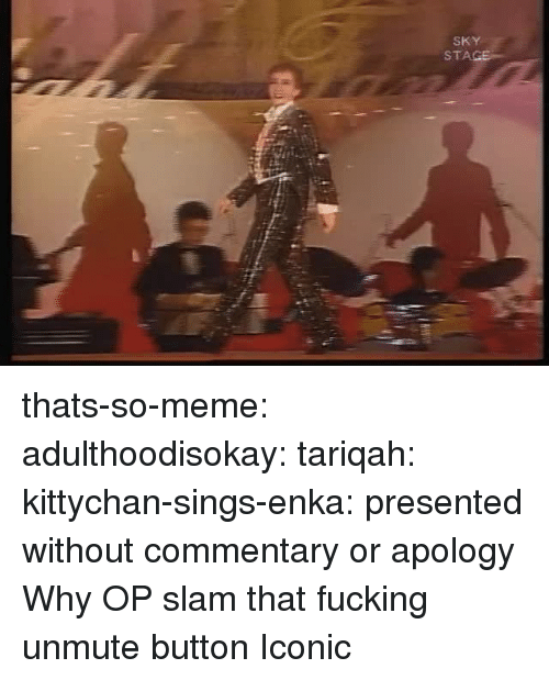 Commentary: SKY  STA thats-so-meme:  adulthoodisokay:  tariqah:  kittychan-sings-enka:  presented without commentary or apology  Why OP   slam that fucking unmute button   Iconic