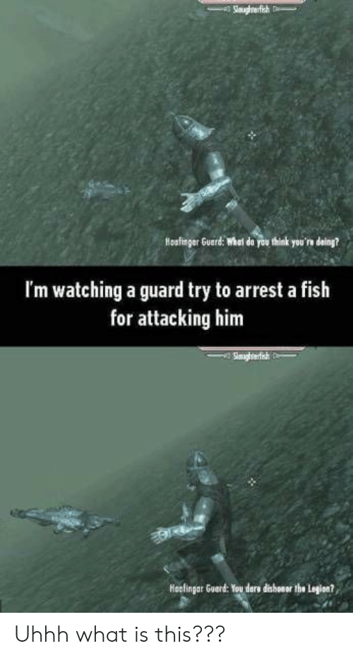 ders: Slaaghrerfish h  Hoafingar Guard: Whal do you think you're deing?  I'm watching a guard try to arrest a fish  for attacking him  Slmghrerfish  Hoofingar Guard: You ders dishonar the Legion? Uhhh what is this???