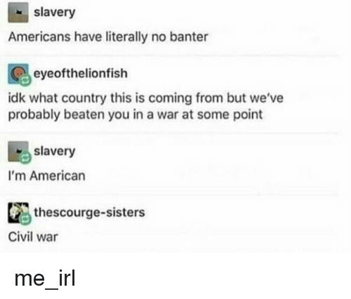 American, Civil War, and Irl: slavery  Americans have literally no banter  eyeofthelionfish  idk what country this is coming from but we've  probably beaten you in a war at some point  slavery  I'm American  thescourge-sisters  Civil war me_irl
