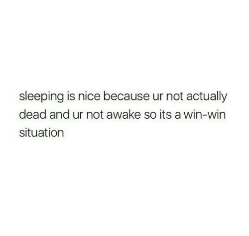 Sleeping, Nice, and Awake: sleeping is nice because ur not actually  dead and ur not awake so its a win-win  situation
