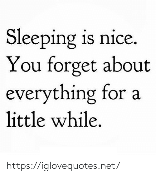 Sleeping: Sleeping is nice.  You forget about  everything for a  little while. https://iglovequotes.net/