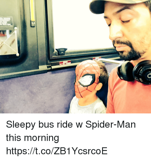 Memes, Spider, and SpiderMan: Sleepy bus ride w Spider-Man this morning https://t.co/ZB1YcsrcoE