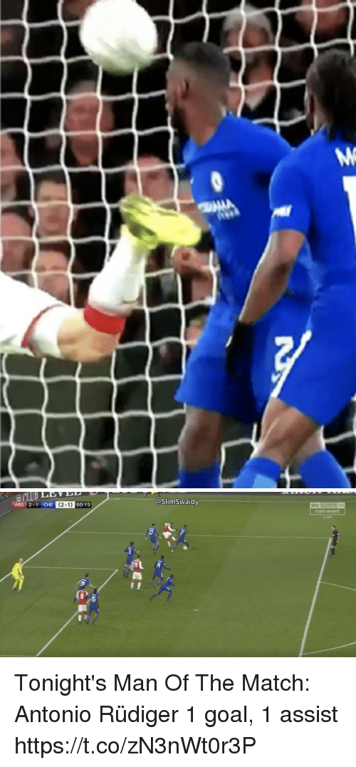 Memes, Sports, and Goal: @SlimSwaidy  ARS 2-1 CHE (2-1) 60:15  1 CHE (  sky sports HD  main event  LIVE Tonight's Man Of The Match: Antonio Rüdiger  1 goal, 1 assist https://t.co/zN3nWt0r3P