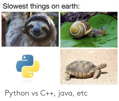 etc: Slowest things on earth: Python vs C++, java, etc