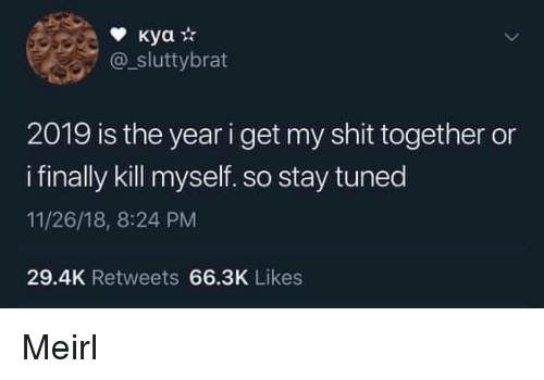 stay tuned: @_sluttybrat  2019 is the year i get my shit together or  i finally kill myself. so stay tuned  11/26/18, 8:24 PM  29.4K Retweets 66.3K Likes Meirl
