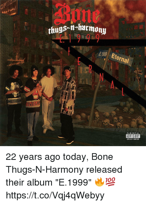 "Bone Thugs N Harmony, Celtic, and Today: SM-harmony  19 9  thugs-i  E 1999 Eternal  A.  CELTIC  PAREN TAL  ADVISORY  EXPLICIT CONTENT 22 years ago today, Bone Thugs-N-Harmony released their album ""E.1999"" 🔥💯 https://t.co/Vqj4qWebyy"