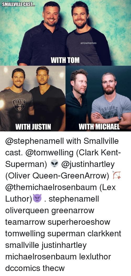 Clark Kent, Memes, and Superman: SMALLVILLE CAST  arrowmemes  WITH TOM  POINT  WITH JUSTIN  WITH MICHAEL @stephenamell with Smallville cast. @tomwelling (Clark Kent-Superman) 👽 @justinhartley (Oliver Queen-GreenArrow) 🏹 @themichaelrosenbaum (Lex Luthor)👿 . stephenamell oliverqueen greenarrow teamarrow superheroeshow tomwelling superman clarkkent smallville justinhartley michaelrosenbaum lexluthor dccomics thecw