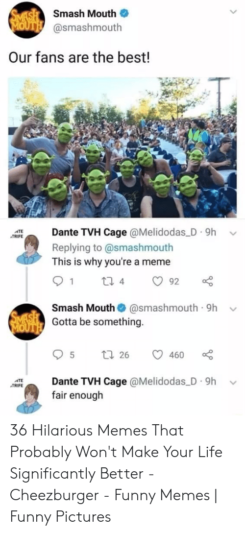 cage: SMASH Smash Mouth  MOUTH @smashmouth  Our fans are the best!  Dante TVH Cage @Melidodas D 9h  ATE  TRIFE  Replying to @smashmouth  This is why you're a meme  1  2i 4  92  Smash Mouth  @smashmouth 9h  SMASH Gotta be something.  MOUTH  t 26  460  Dante TVH Cage @Melidodas D 9h  fair enough  TE  TRIFE 36 Hilarious Memes That Probably Won't Make Your Life Significantly Better - Cheezburger - Funny Memes | Funny Pictures