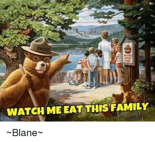 smokey ffrest fires watch me eat this famil blane meme on