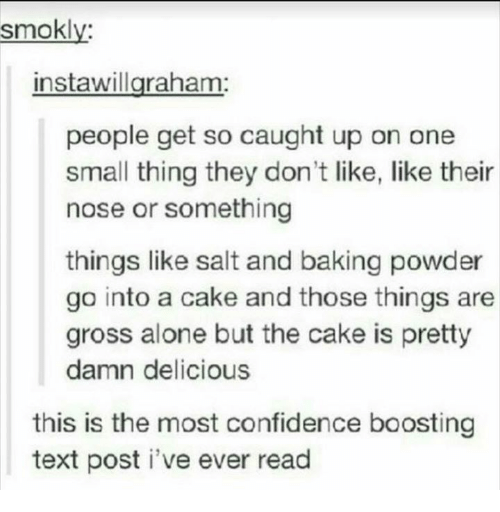 Being Alone, Confidence, and Cake: smokly:  instawillgraham  people get so caught up on one  small thing they don't like, like their  nose or something  things like salt and baking powder  go into a cake and those things are  gross alone but the cake is pretty  damn delicious  this is the most confidence boosting  text post i've ever read