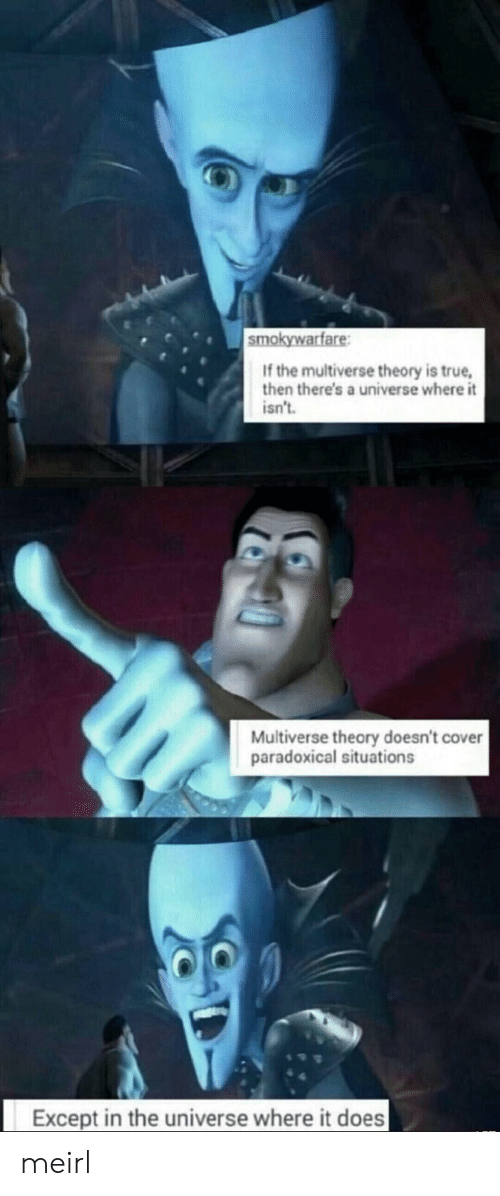 True, MeIRL, and Universe: smokywarfare  If the multiverse theory is true,  then there's a universe where it  isn't  Multiverse theory doesn't cover  paradoxical situations  Except in the universe where it does meirl