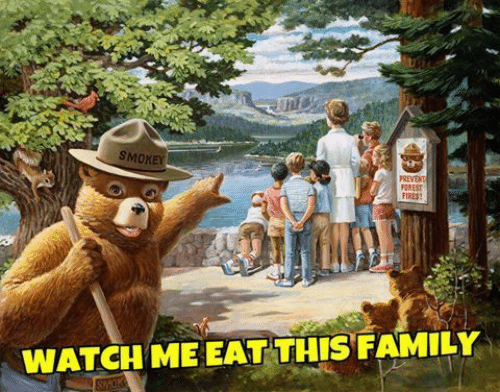 Family, Watch Me, and Watch: SMOXEY  FOREST  FIRES  WATCH ME EAT THIS FAMILY
