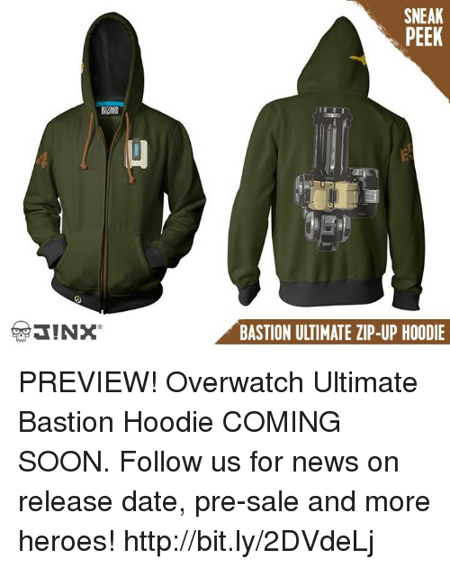 News, Soon..., and Date: SNEAK  PEEK  BASTION ULTIMATE ZIP-UP HOODIE PREVIEW! Overwatch Ultimate Bastion Hoodie COMING SOON. Follow us for news on release date, pre-sale and more heroes! http://bit.ly/2DVdeLj