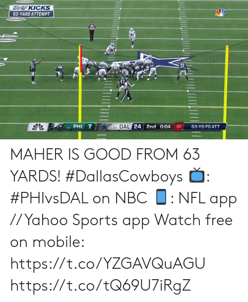 Memes, Nfl, and Sports: SNF KICKS  63-YARD ATTEMPT  3-3 DAL 24 2nd 0:04  63-YD FG ATT  :07  3-3 PHI MAHER IS GOOD FROM 63 YARDS! #DallasCowboys  📺: #PHIvsDAL on NBC 📱: NFL app // Yahoo Sports app Watch free on mobile: https://t.co/YZGAVQuAGU https://t.co/tQ69U7iRgZ