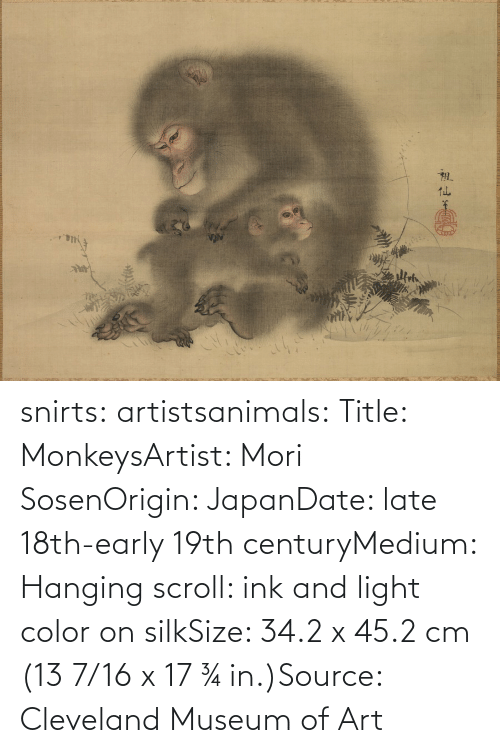 Japan: snirts: artistsanimals: Title: MonkeysArtist: Mori SosenOrigin: JapanDate: late 18th-early 19th centuryMedium: Hanging scroll: ink and light color on silkSize: 34.2 x 45.2 cm (13 7/16 x 17 ¾ in.)Source: Cleveland Museum of Art
