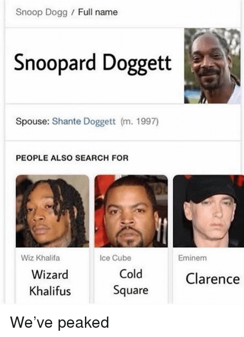 Eminem, Ice Cube, and Snoop: Snoop Dogg / Full name  Snoopard Doggett  Spouse: Shante Doggett (m. 1997)  PEOPLE ALSO SEARCH FOR  Wiz Khalifa  Ice Cube  Eminem  Wizard  Khalifus  Cold  Square  Clarence We've peaked