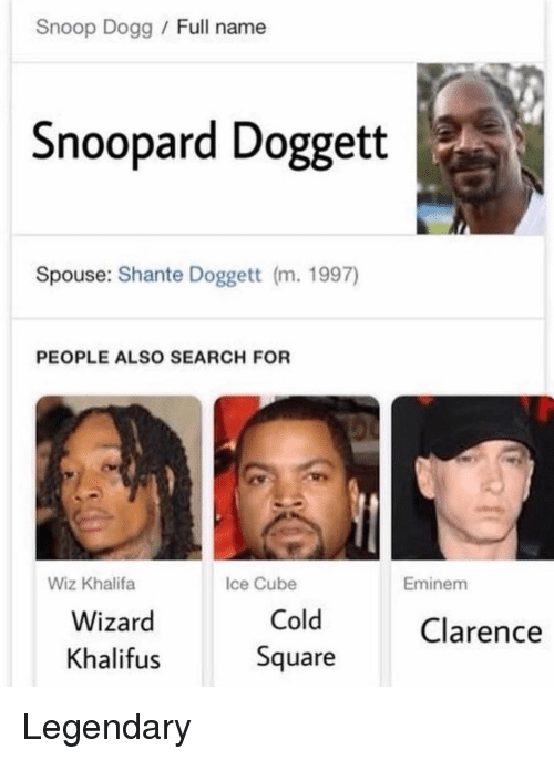 Eminem, Ice Cube, and Memes: Snoop Dogg Full name  Snoopard Doggett  Spouse: Shante Doggett (m. 1997)  PEOPLE ALSO SEARCH FOR  Wiz Khalifa  Ice Cube  Eminem  Wizard  Khalifus  Cold  Square  Clarence Legendary