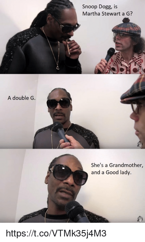 Memes, Snoop, and Snoop Dogg: Snoop Dogg, IS  Martha Stewart a G?  A double G  She's a Grandmother,  and a Good lady. https://t.co/VTMk35j4M3