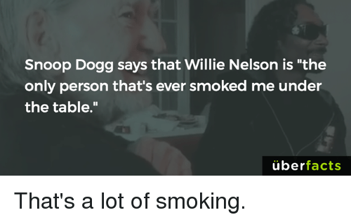 "Uber Facts: Snoop Dogg says that Willie Nelson is ""the  only person that's ever smoked me under  the table.""  uber  facts That's a lot of smoking."