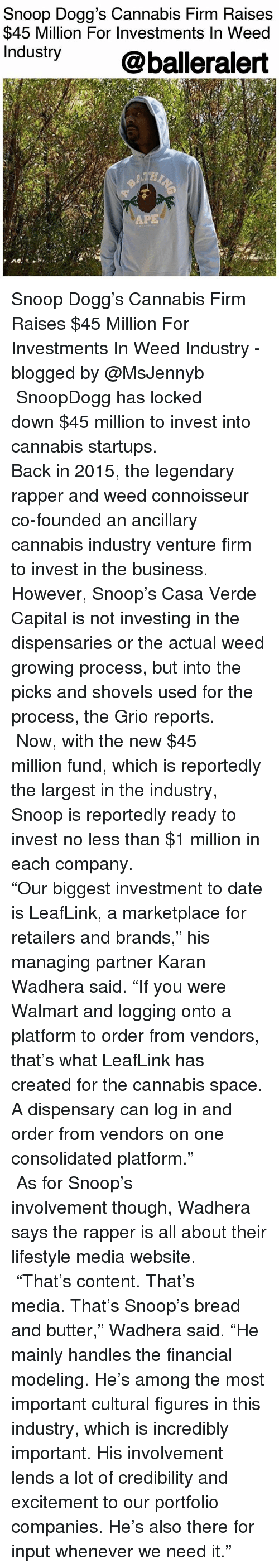 "connoisseur: Snoop Dogg's Cannabis Firm Raises  $45 Million For Investments In Weed  Industry @balleralert  APE Snoop Dogg's Cannabis Firm Raises $45 Million For Investments In Weed Industry - blogged by @MsJennyb ⠀⠀⠀⠀⠀⠀⠀⠀⠀ ⠀⠀⠀⠀⠀⠀⠀⠀⠀ SnoopDogg has locked down $45 million to invest into cannabis startups. ⠀⠀⠀⠀⠀⠀⠀⠀⠀ ⠀⠀⠀⠀⠀⠀⠀⠀⠀ Back in 2015, the legendary rapper and weed connoisseur co-founded an ancillary cannabis industry venture firm to invest in the business. However, Snoop's Casa Verde Capital is not investing in the dispensaries or the actual weed growing process, but into the picks and shovels used for the process, the Grio reports. ⠀⠀⠀⠀⠀⠀⠀⠀⠀ ⠀⠀⠀⠀⠀⠀⠀⠀⠀ Now, with the new $45 million fund, which is reportedly the largest in the industry, Snoop is reportedly ready to invest no less than $1 million in each company. ⠀⠀⠀⠀⠀⠀⠀⠀⠀ ⠀⠀⠀⠀⠀⠀⠀⠀⠀ ""Our biggest investment to date is LeafLink, a marketplace for retailers and brands,"" his managing partner Karan Wadhera said. ""If you were Walmart and logging onto a platform to order from vendors, that's what LeafLink has created for the cannabis space. A dispensary can log in and order from vendors on one consolidated platform."" ⠀⠀⠀⠀⠀⠀⠀⠀⠀ ⠀⠀⠀⠀⠀⠀⠀⠀⠀ As for Snoop's involvement though, Wadhera says the rapper is all about their lifestyle media website. ⠀⠀⠀⠀⠀⠀⠀⠀⠀ ⠀⠀⠀⠀⠀⠀⠀⠀⠀ ""That's content. That's media. That's Snoop's bread and butter,"" Wadhera said. ""He mainly handles the financial modeling. He's among the most important cultural figures in this industry, which is incredibly important. His involvement lends a lot of credibility and excitement to our portfolio companies. He's also there for input whenever we need it."""