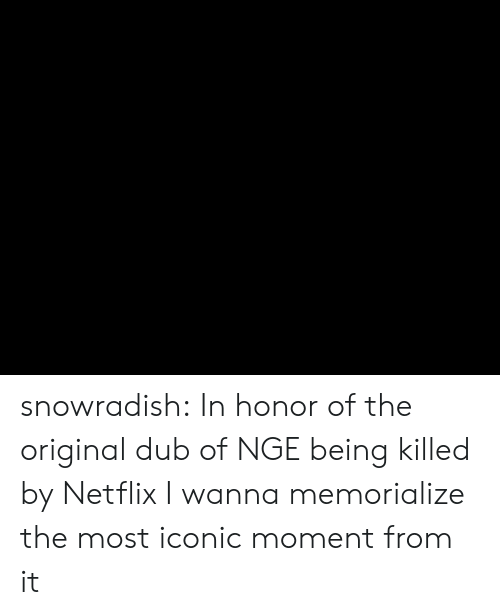 Netflix, Tumblr, and Blog: snowradish:  In honor of the original dub of NGE being killed by Netflix I wanna memorialize the most iconic moment from it