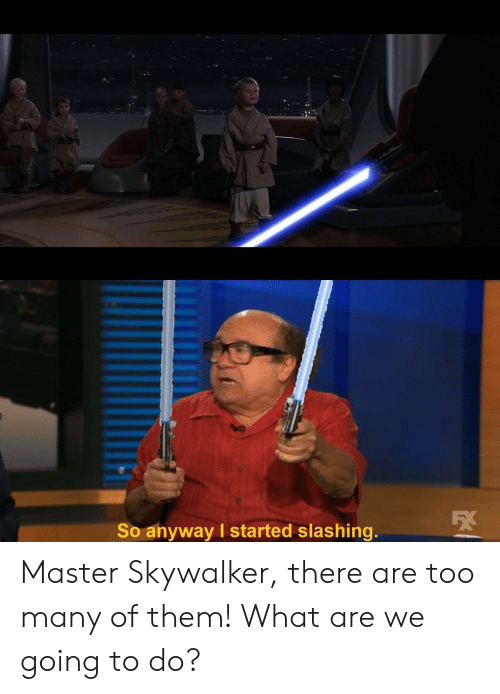 Them, Master, and Skywalker: So anyway I started slashing. Master Skywalker, there are too many of them! What are we going to do?