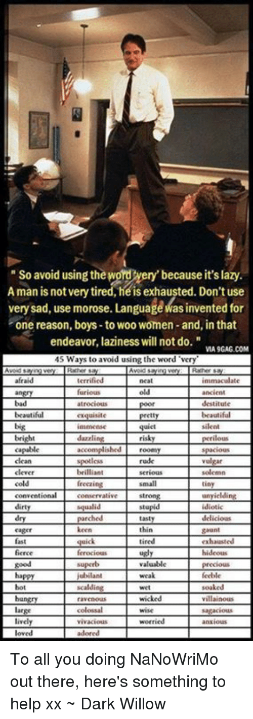 """Lazy, Memes, and Help: So avoid usingtheword very' because it'slazy.  A man is not very tired, he is exhausted. Don't use  verysad, use morose. LanguageMasinvented for  one reason, boys to woo women-and, in that  endeavor, laziness will not do.""""  MA9GAG.COM  45 Ways to avoid using the word """"very  exquisite pretty  quiet silent  risky perilous  Capable accomplished roomy Spacious  crce ferocious Lugly  hideous To all you doing NaNoWriMo out there, here's something to help xx ~ Dark Willow"""