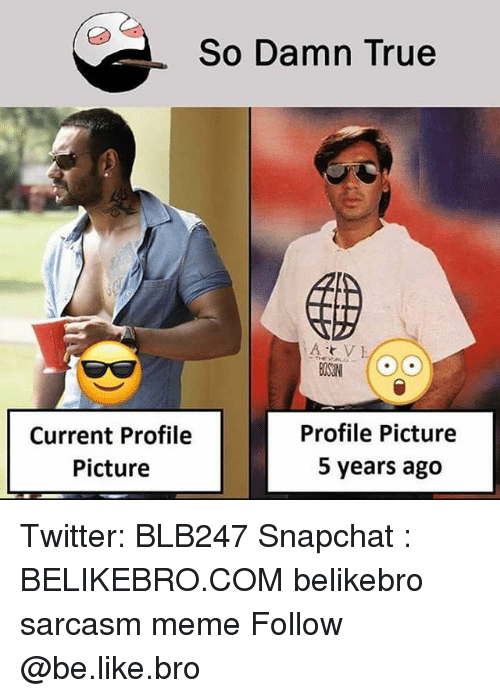 Be Like, Meme, and Memes: So Damn True  Current Profile  Picture  Profile Picture  5 years ago Twitter: BLB247 Snapchat : BELIKEBRO.COM belikebro sarcasm meme Follow @be.like.bro